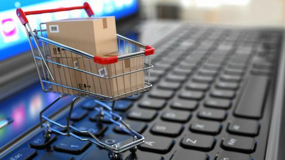 Shopping cart on a keyboard