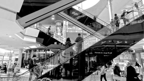 Black and white Shopping mall
