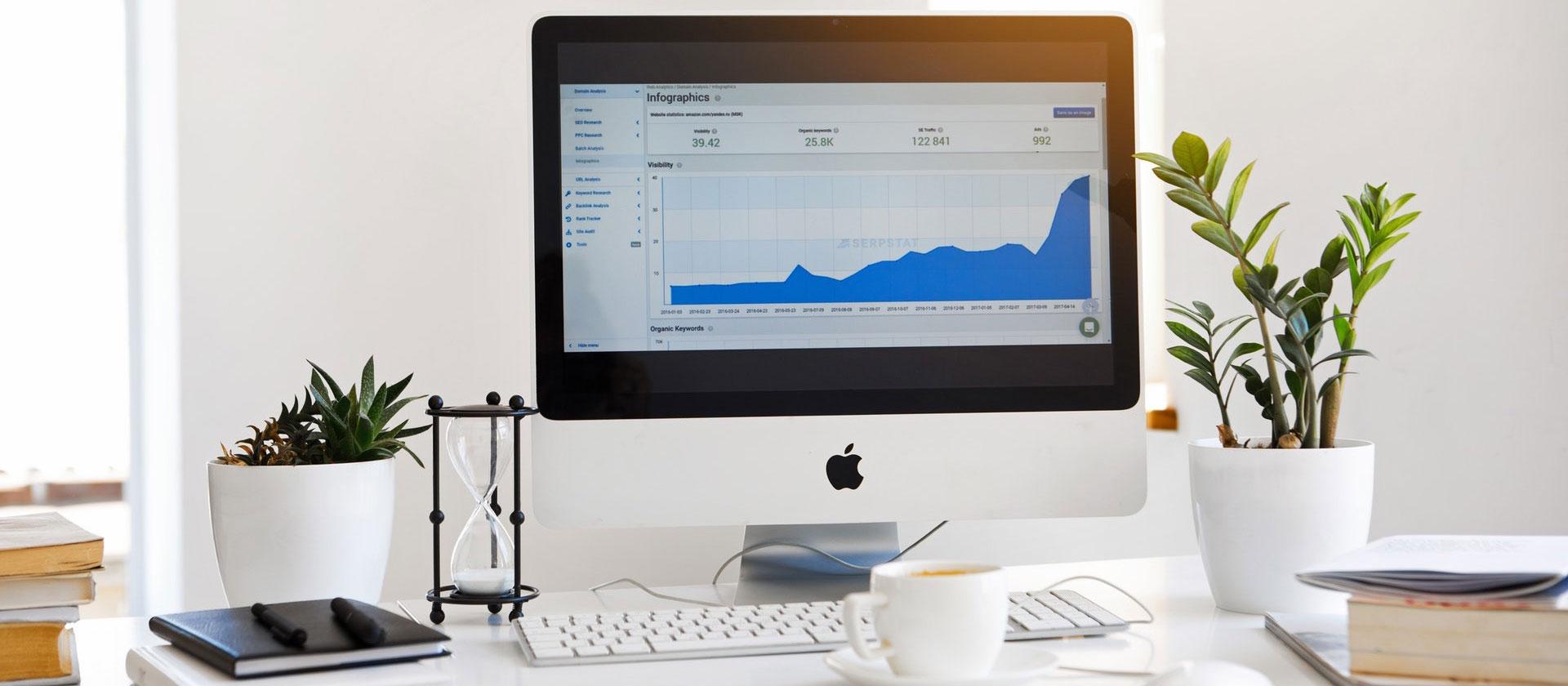 Mac computer on a desk