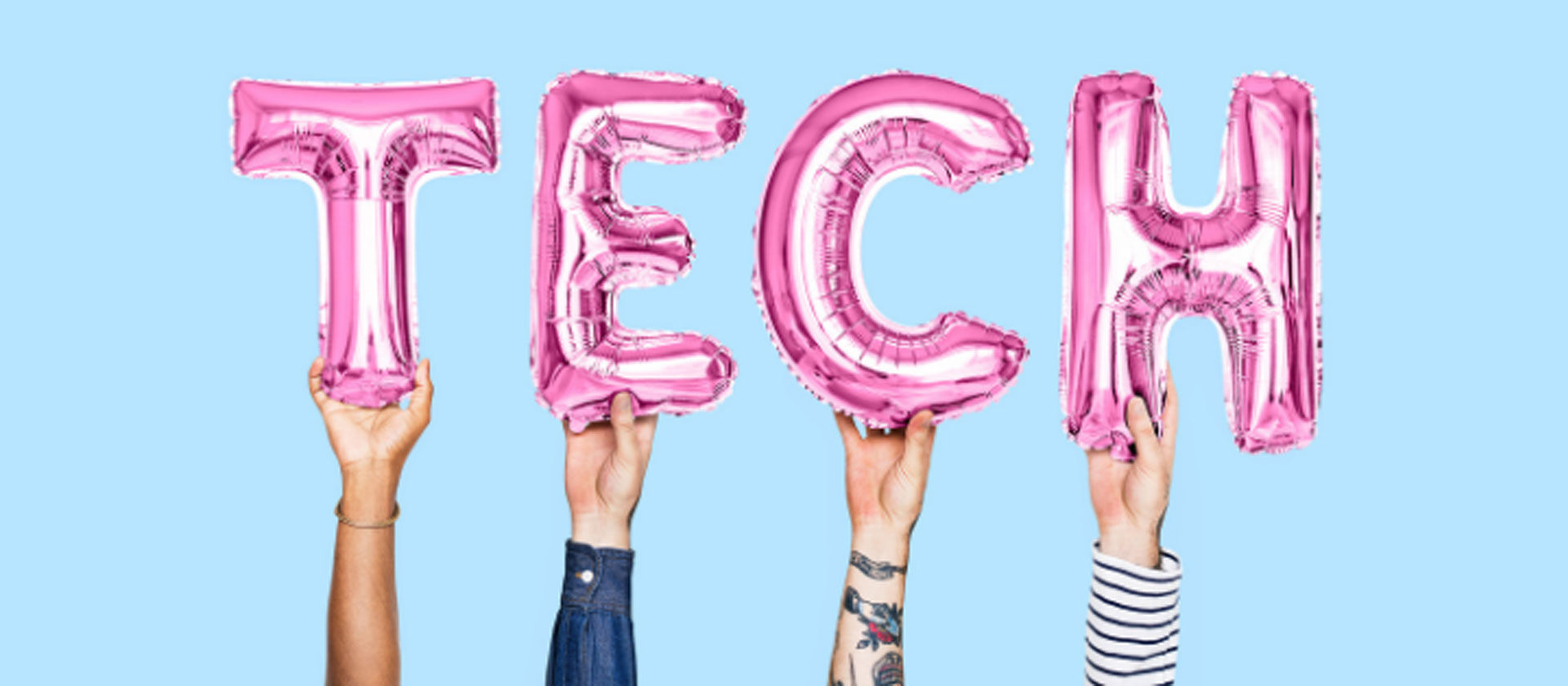 Four balloons forming the word tech