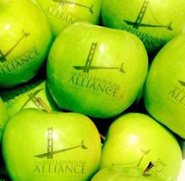 Millenium Alliance Logo in an apple