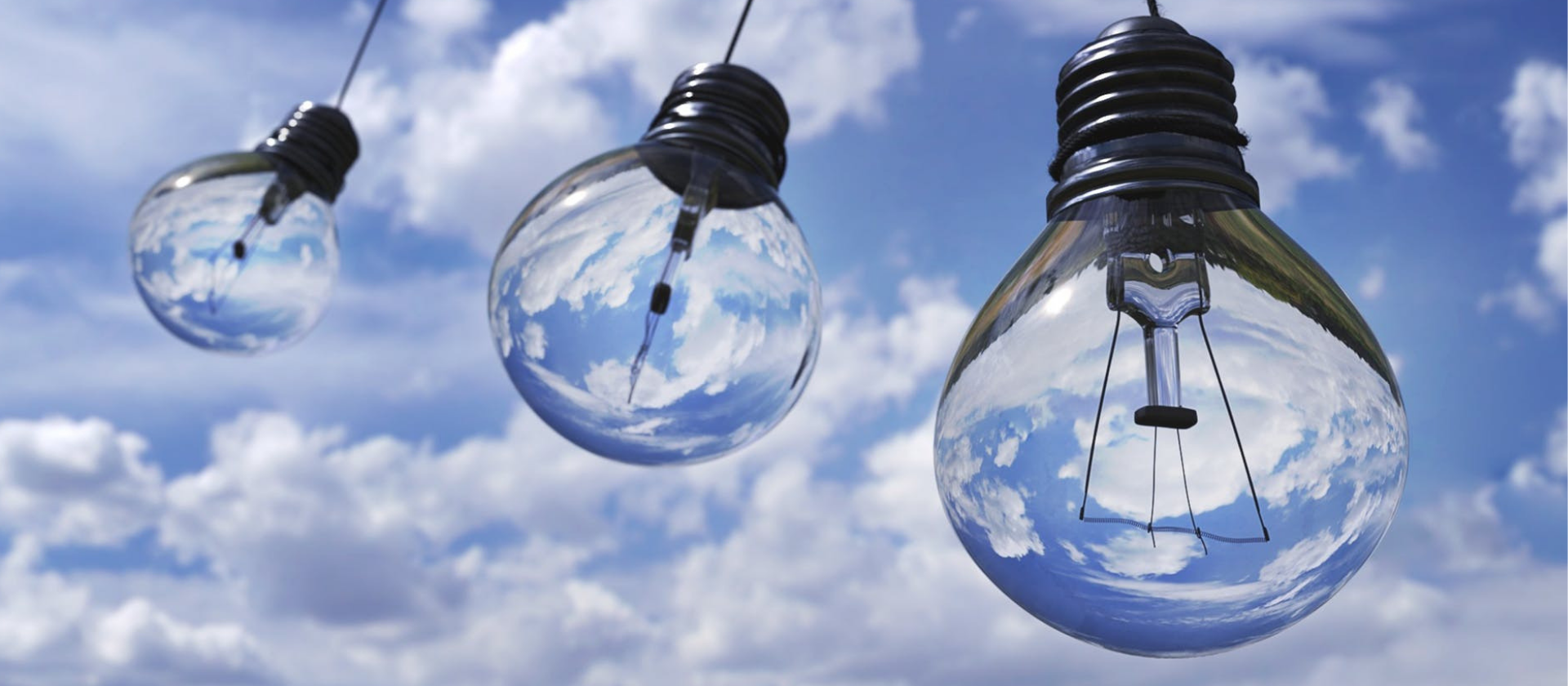 Lightbulbs in Blue Sky